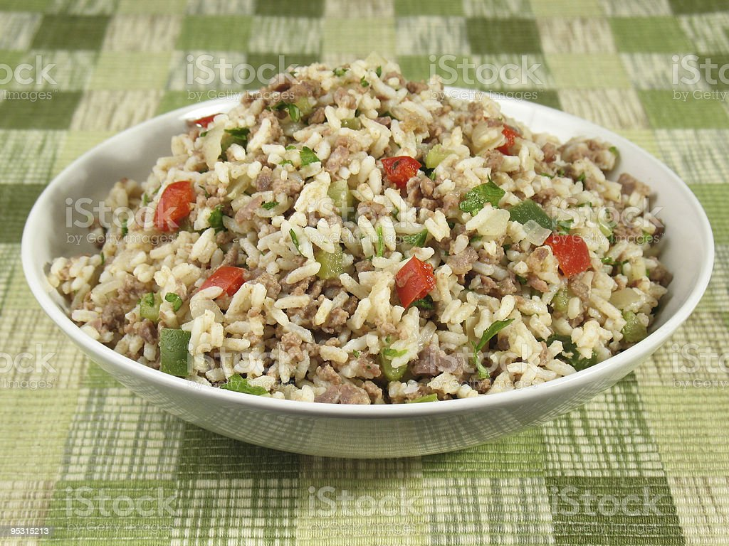 Bowl of Dirty Rice stock photo