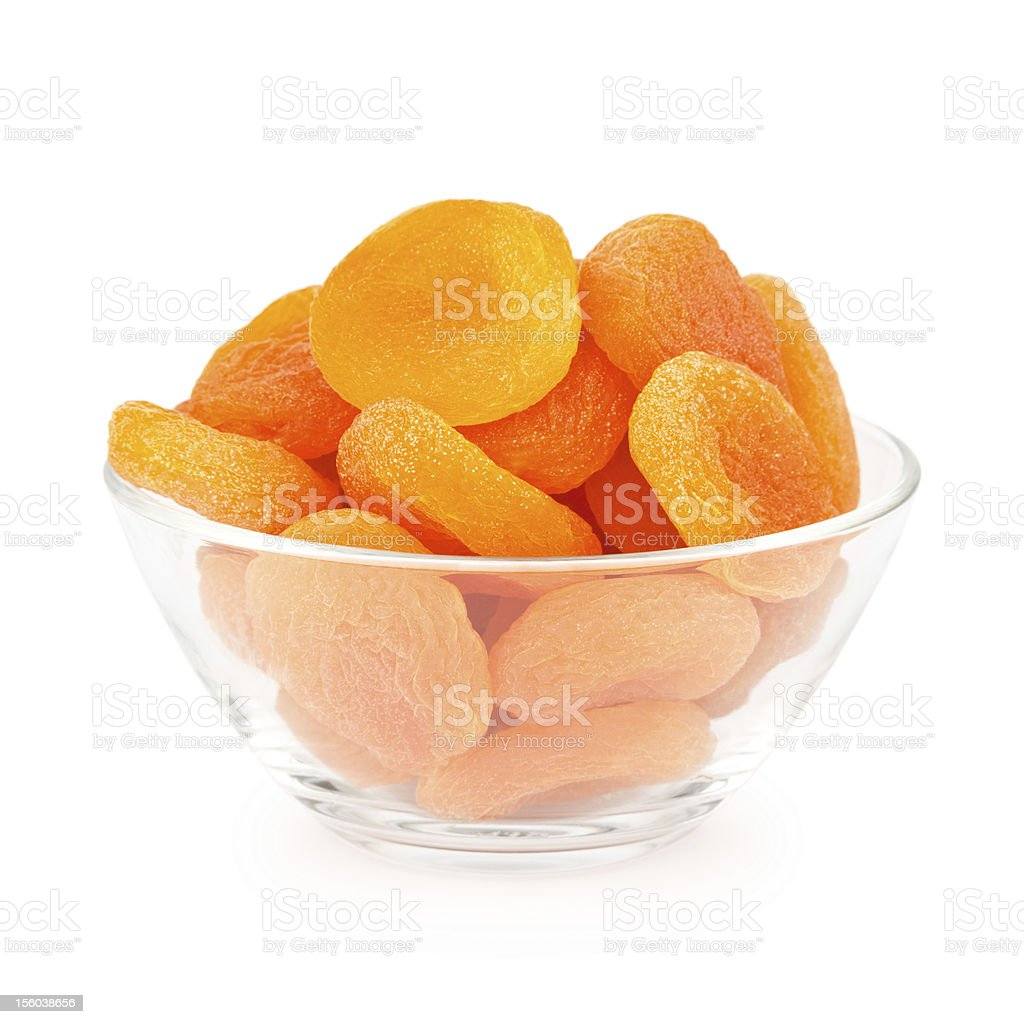 Bowl Of Dried Apricots stock photo
