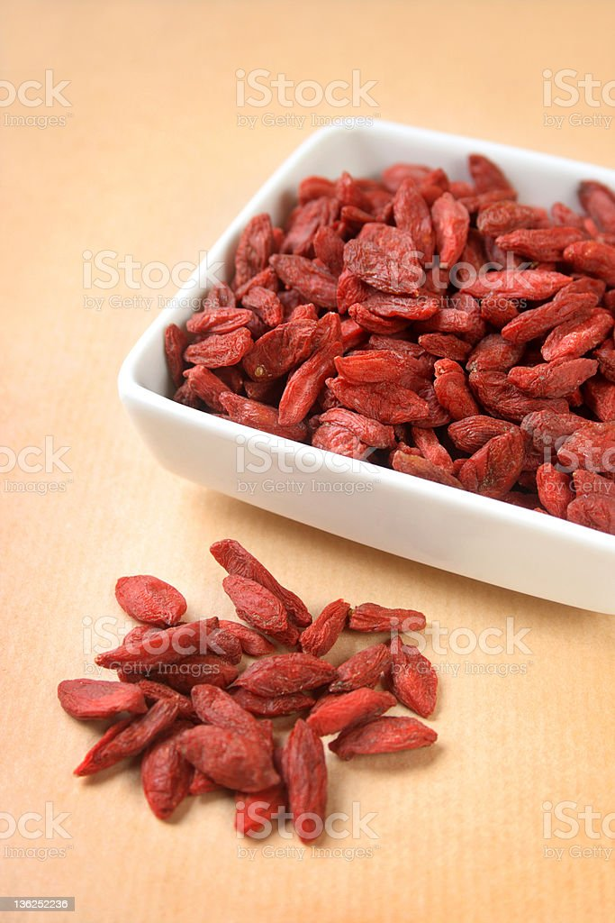 Bowl of dried goji berries royalty-free stock photo