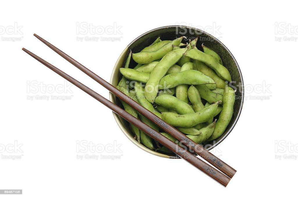 Bowl of edamame with chopsticks royalty-free stock photo
