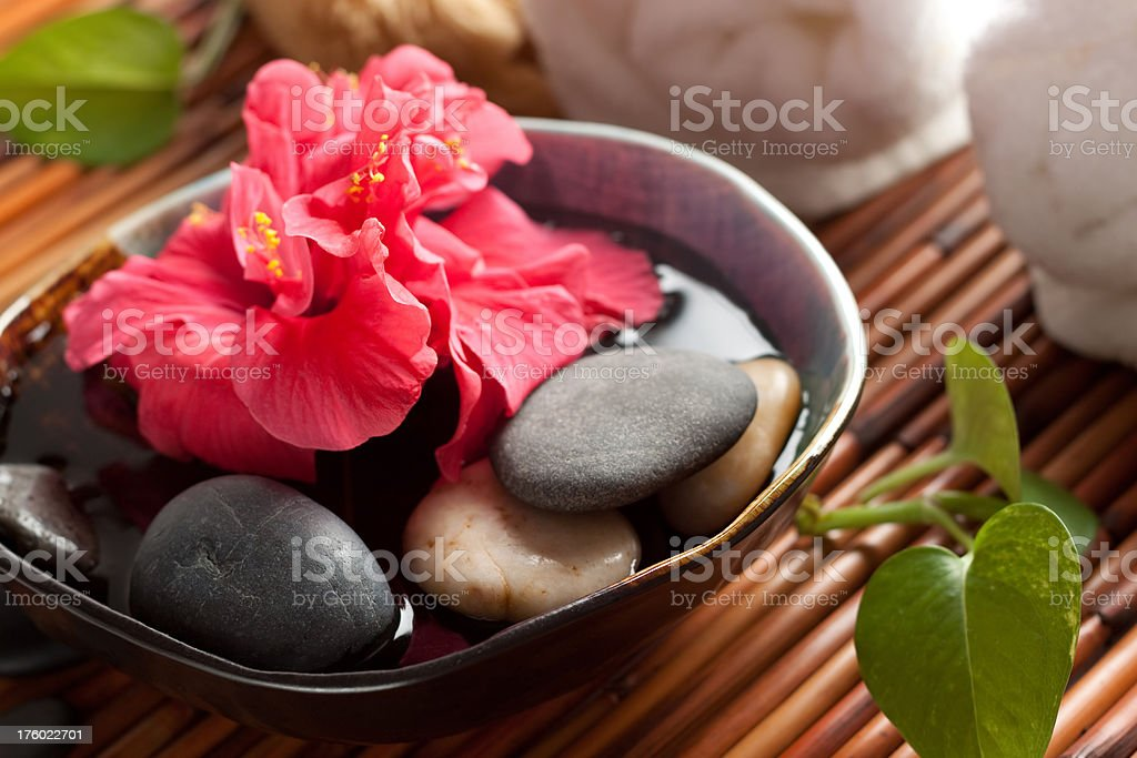Bowl of flowers at the spa royalty-free stock photo