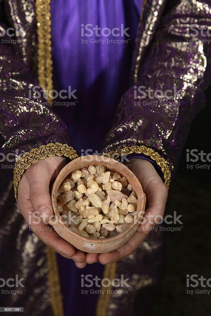 Bowl of frankincense stock photo