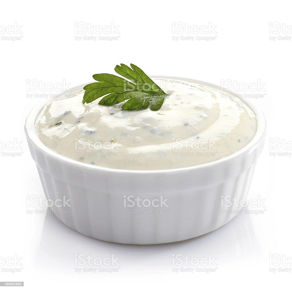 Bowl of fresh garlic dip stock photo