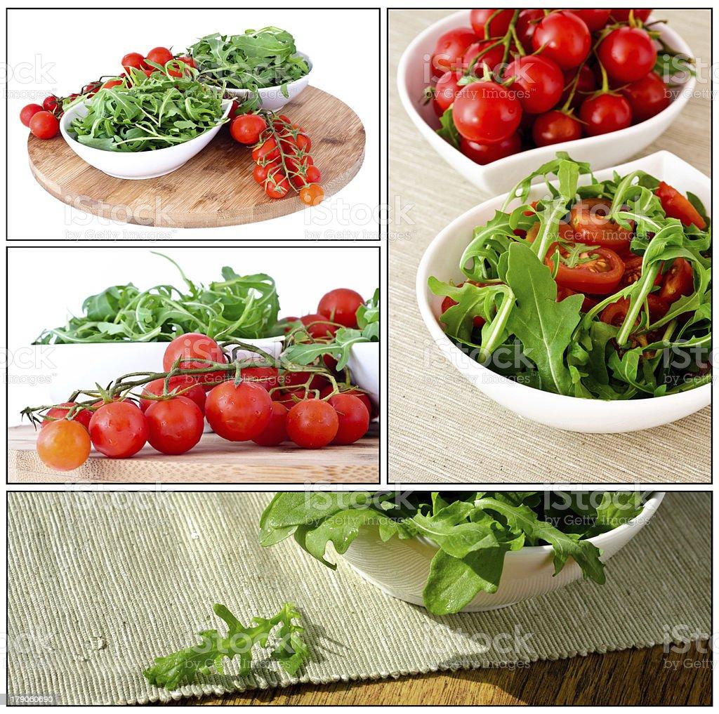 bowl of fresh green, natural arugula and cherry tomatoes royalty-free stock photo