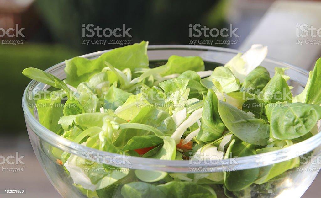 bowl of fresh green salad stock photo