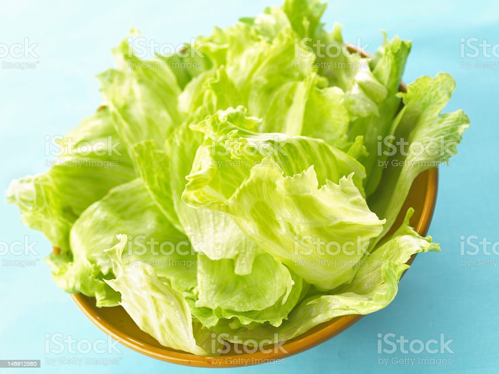 A bowl of fresh iceberg lettuce stock photo