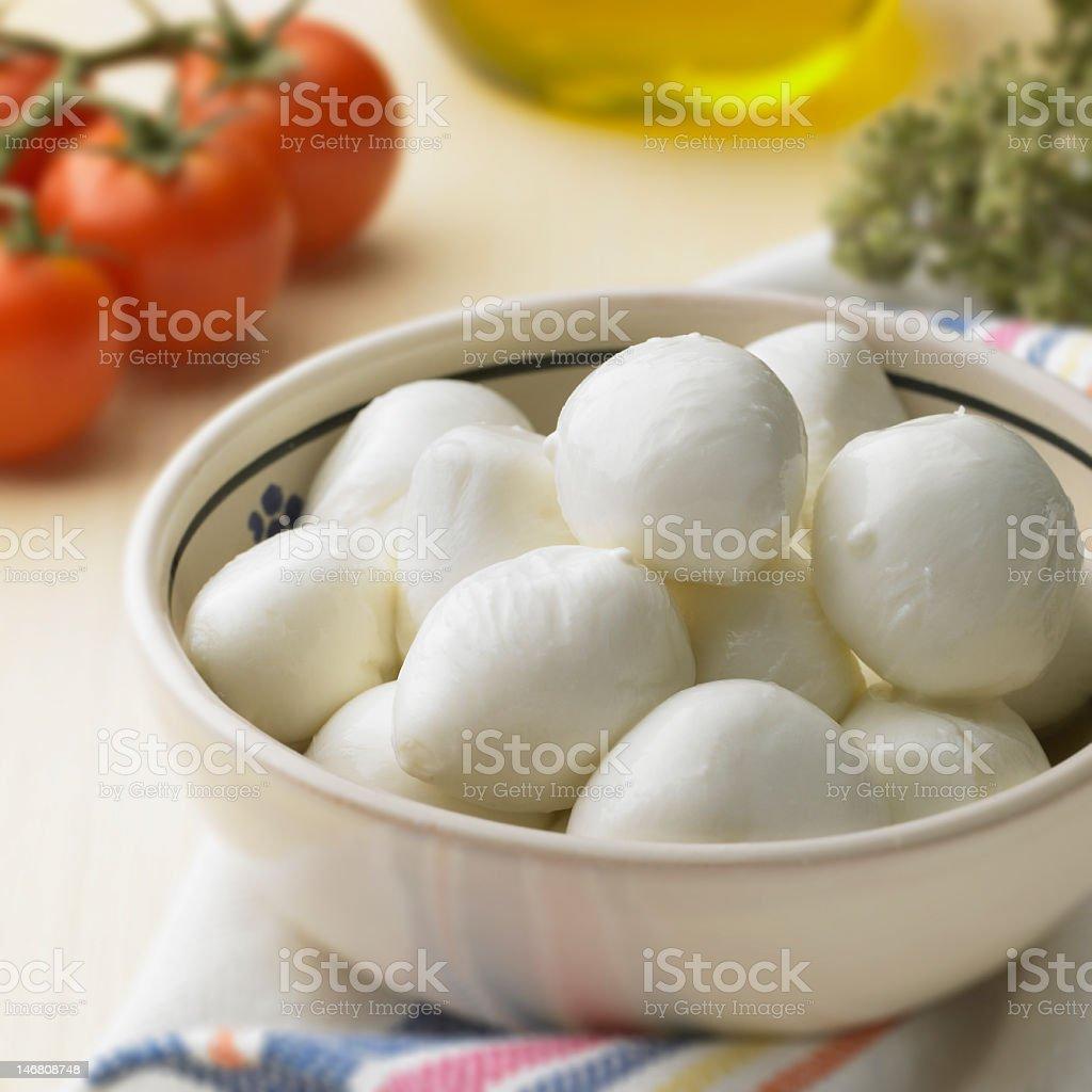 A bowl of fresh mozzarella balls royalty-free stock photo