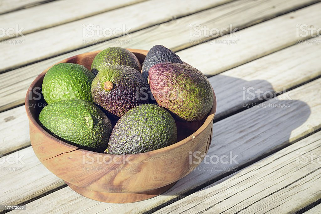 Bowl of Fresh, Organic Avocados royalty-free stock photo