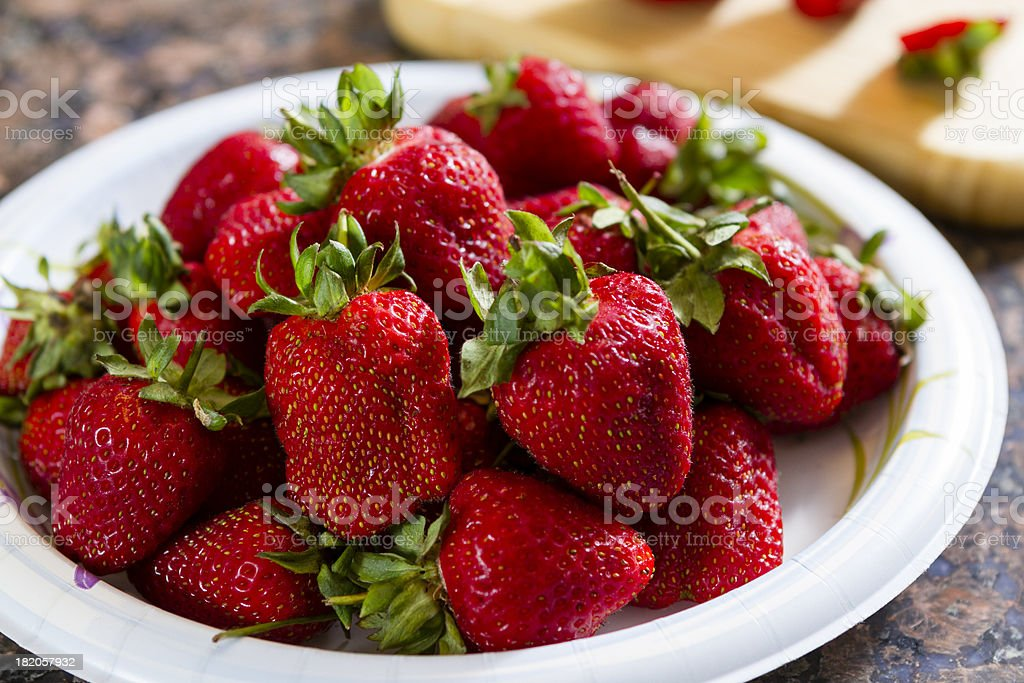 Bowl of fresh Picked Strawberries. stock photo