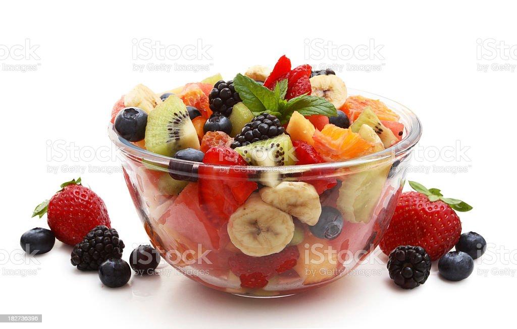 A bowl of freshly chopping fruit salad stock photo