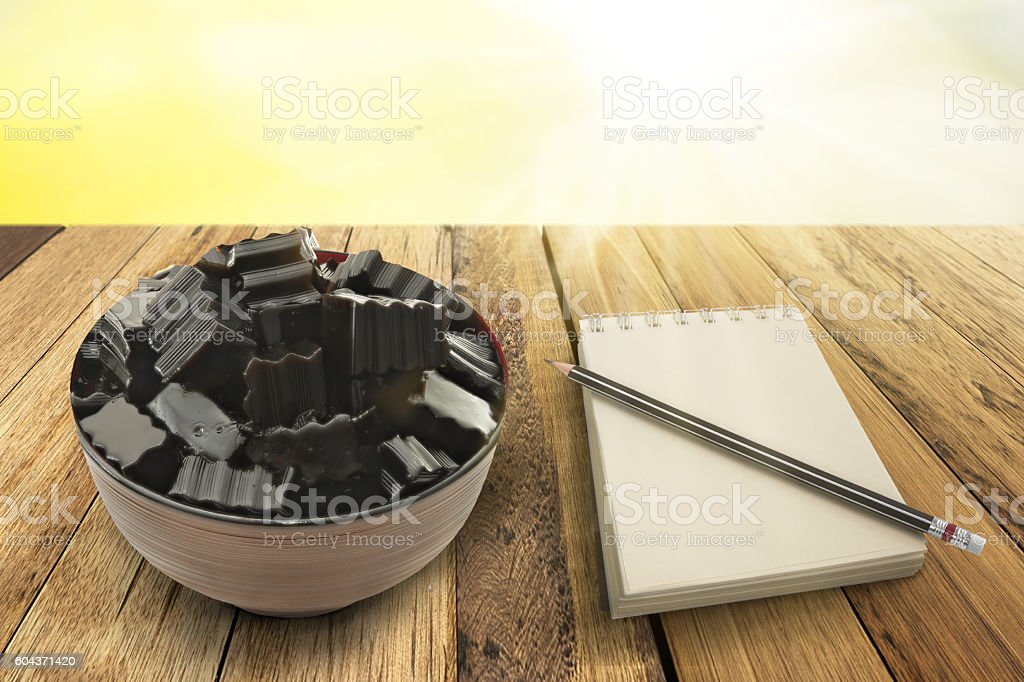 Bowl of grass jelly stock photo