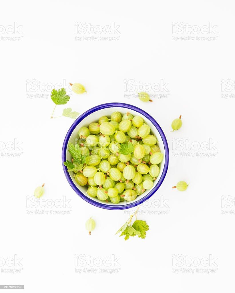Bowl Of Green Goosberries stock photo
