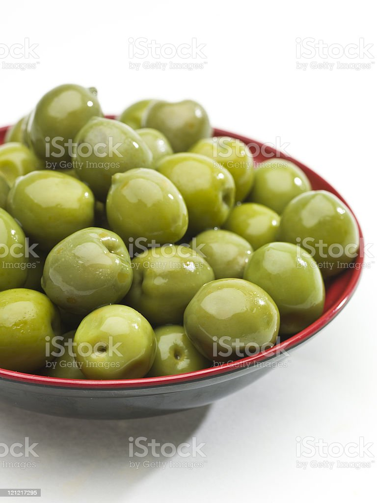 Bowl of green olives royalty-free stock photo