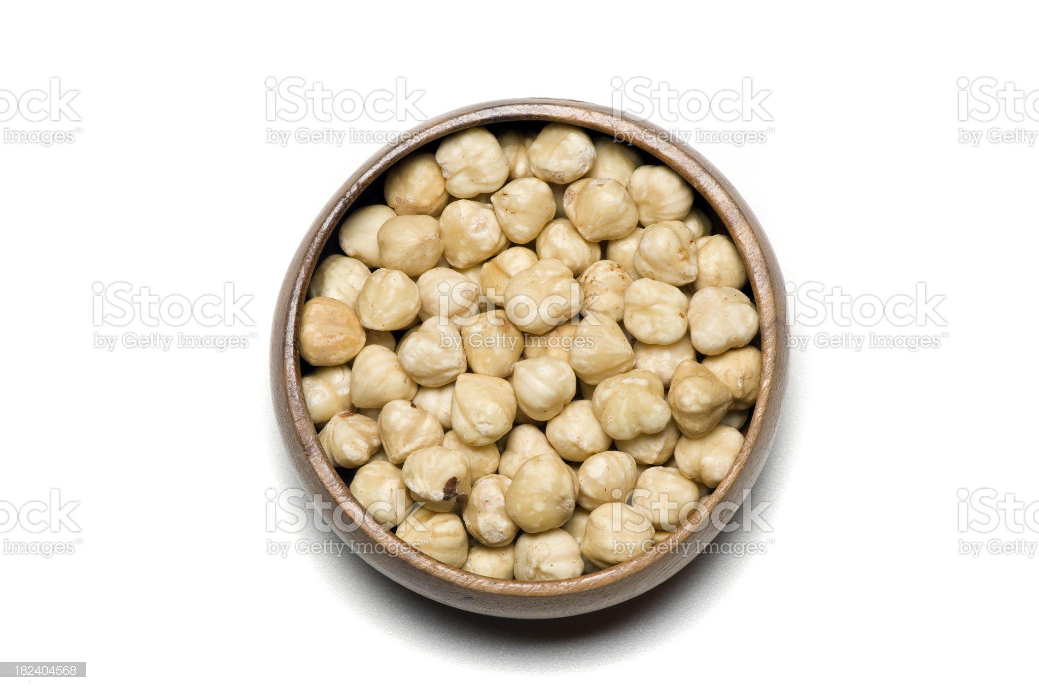 Bowl of hazel nuts royalty-free stock photo