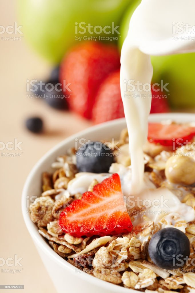 A bowl of healthy cereals for breakfast royalty-free stock photo
