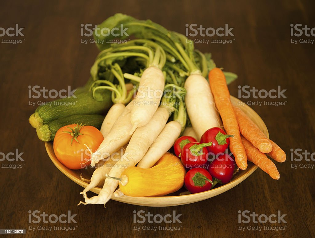 Bowl of healthy garden vegetables. Horizontal format. royalty-free stock photo