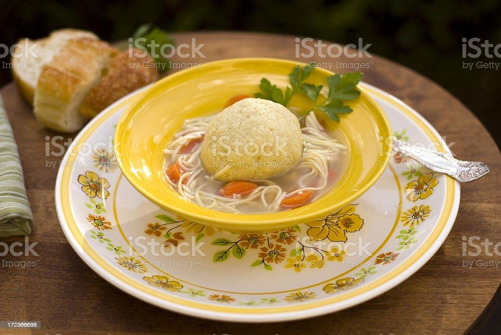 Bowl of Healthy Matzo Ball Soup royalty-free stock photo