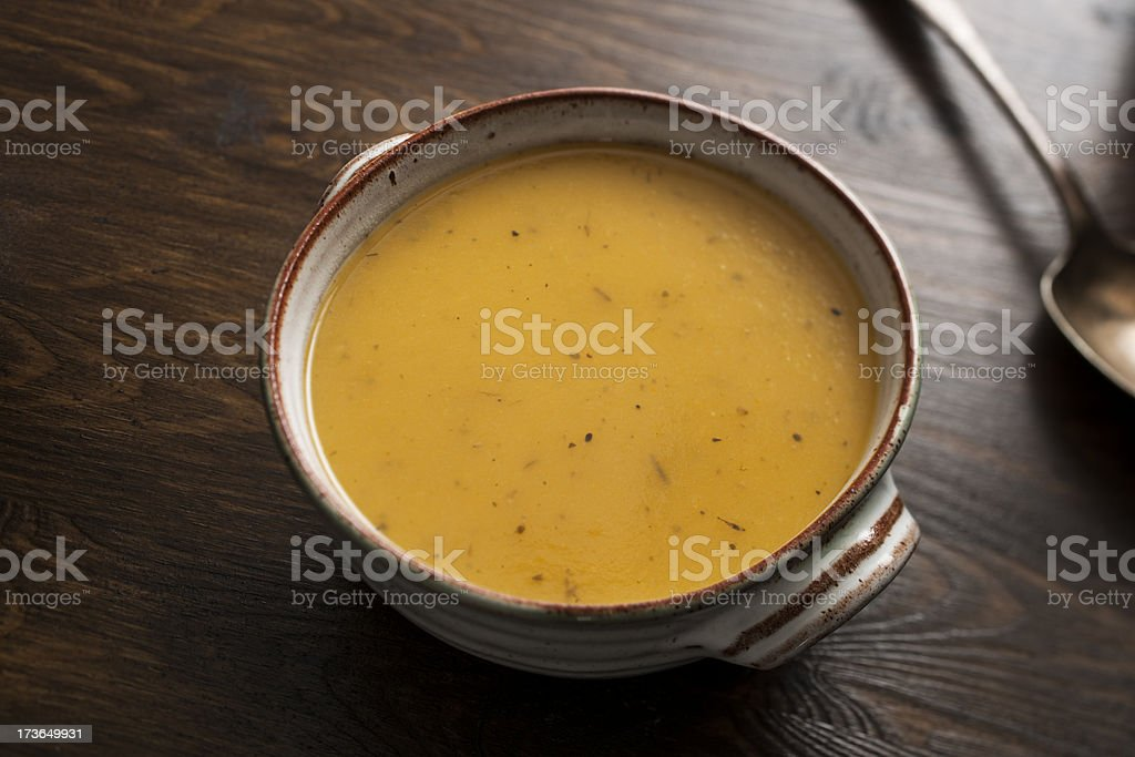 Bowl of homemade Butternut Squash Soup stock photo