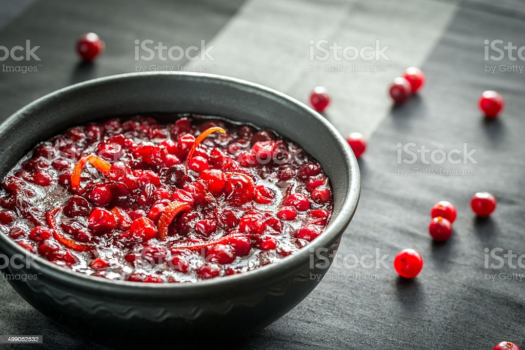 Bowl of homemade cranberry sauce stock photo