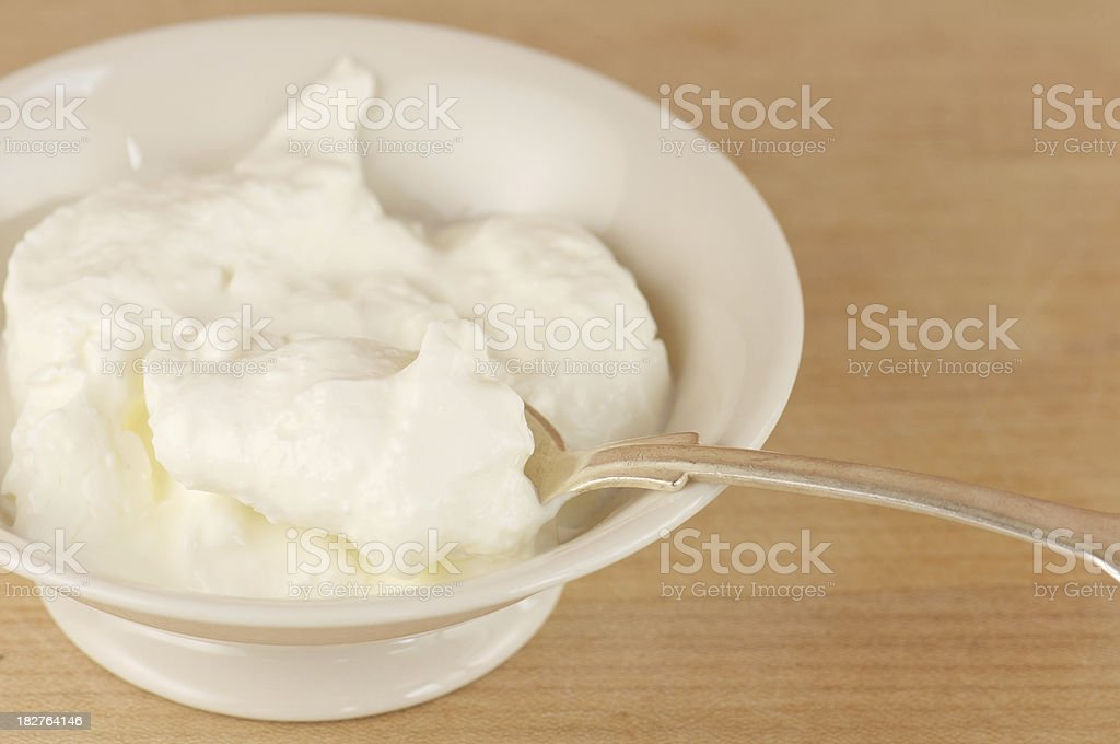 Bowl of Homemade Creme Fraiche stock photo