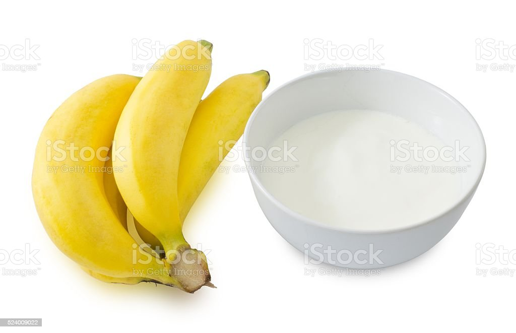 Bowl of Homemade Yoghurt with Ripe Banana stock photo