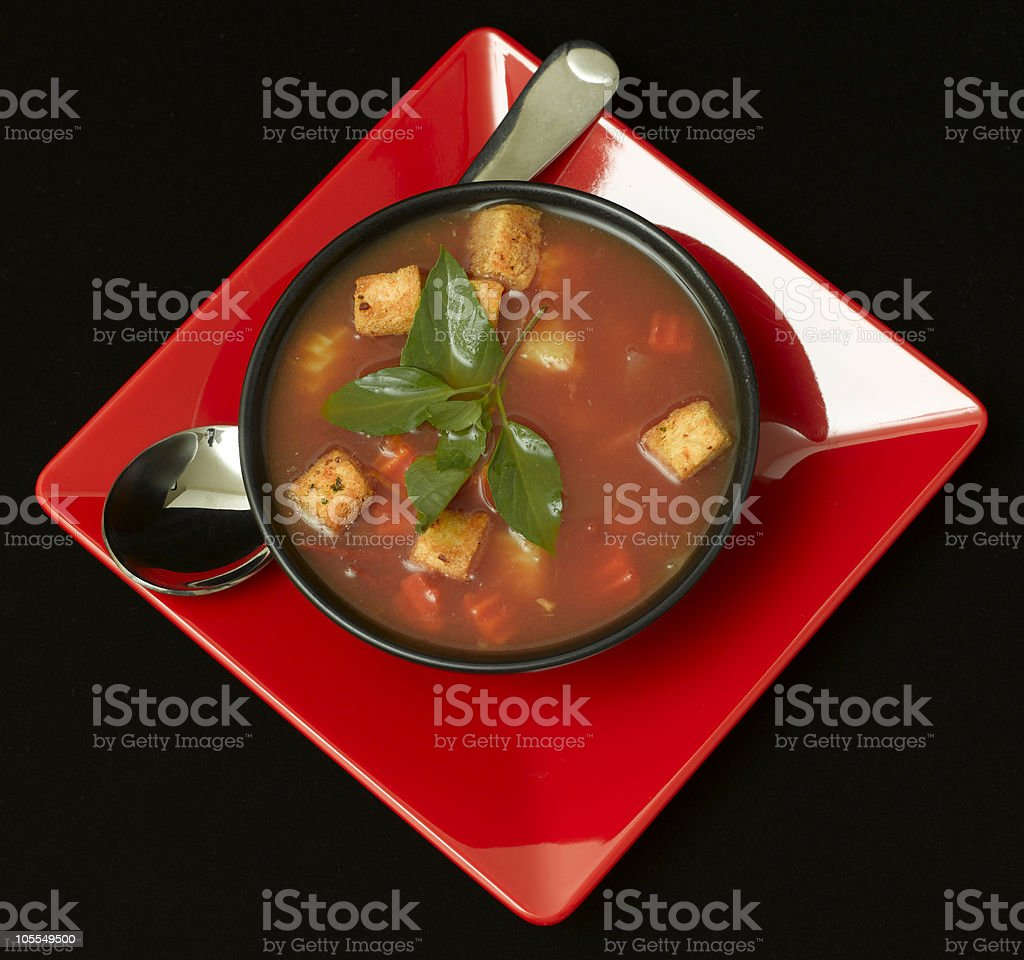 bowl of hot fresh Minestrone italian soup royalty-free stock photo