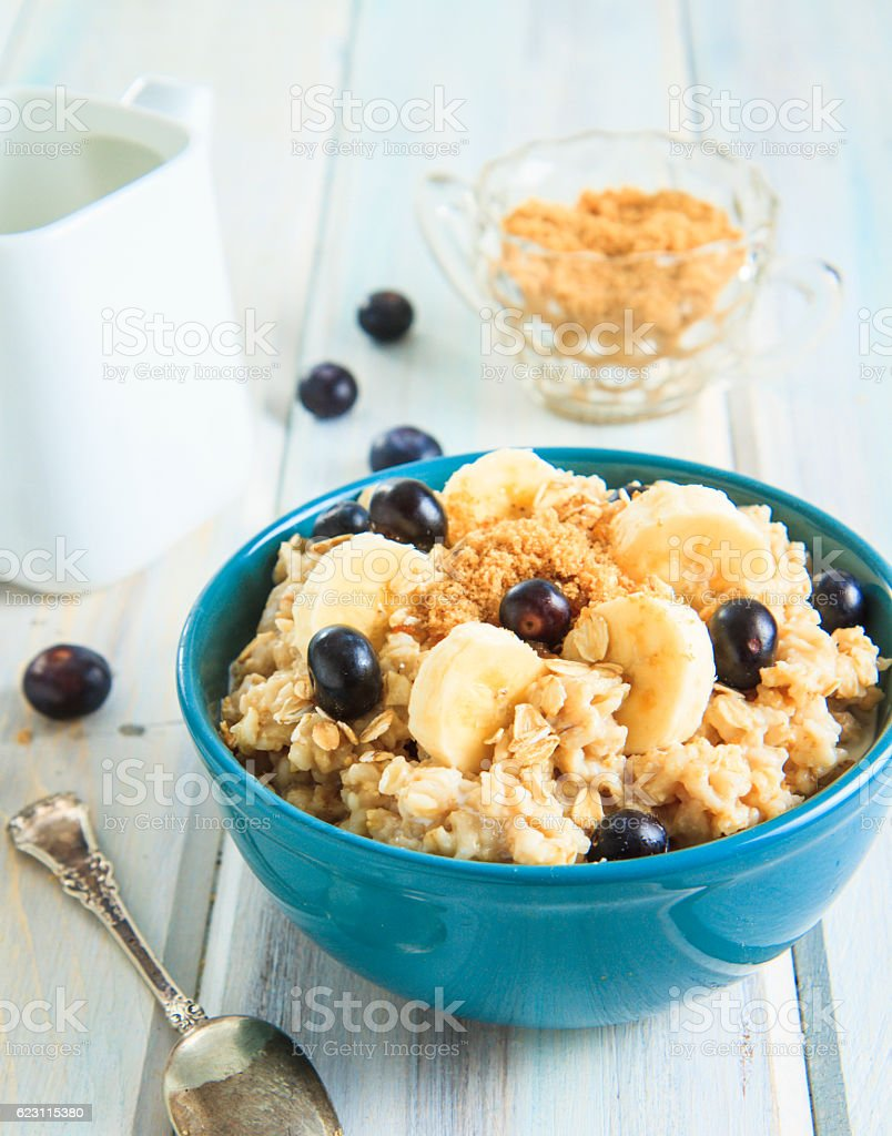 Bowl Of Hot Oatmeal With Blueberries stock photo