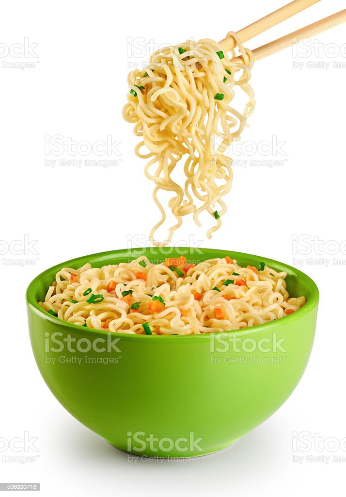 Bowl of instant noodles isolated on white background. stock photo