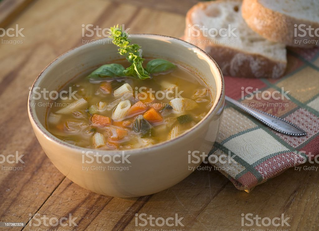 Bowl of Italian Minestrone & Pasta Soup, Vegetarian Vegetable Noodle Stew stock photo