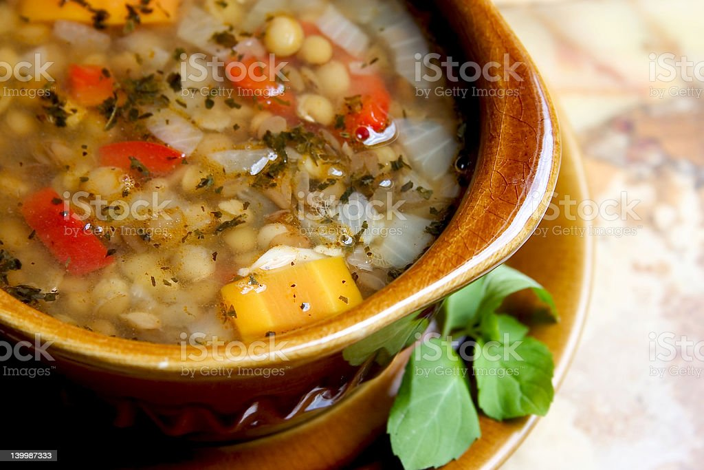 A bowl of lentil soup up close royalty-free stock photo