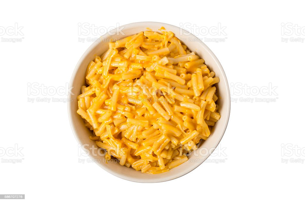 Bowl of Macaroni and Cheese Overhead stock photo