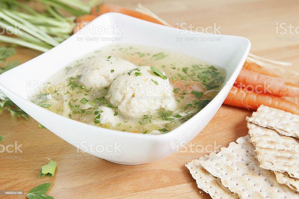 Bowl of Matzah Ball Soup stock photo