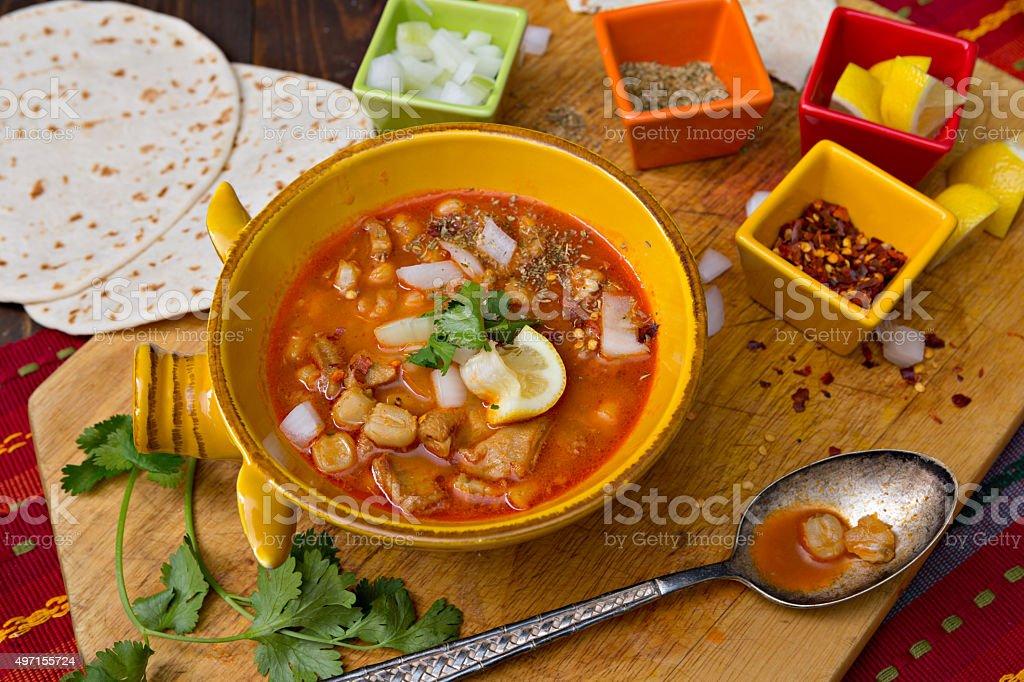 Bowl Of Mexican Menudo stock photo