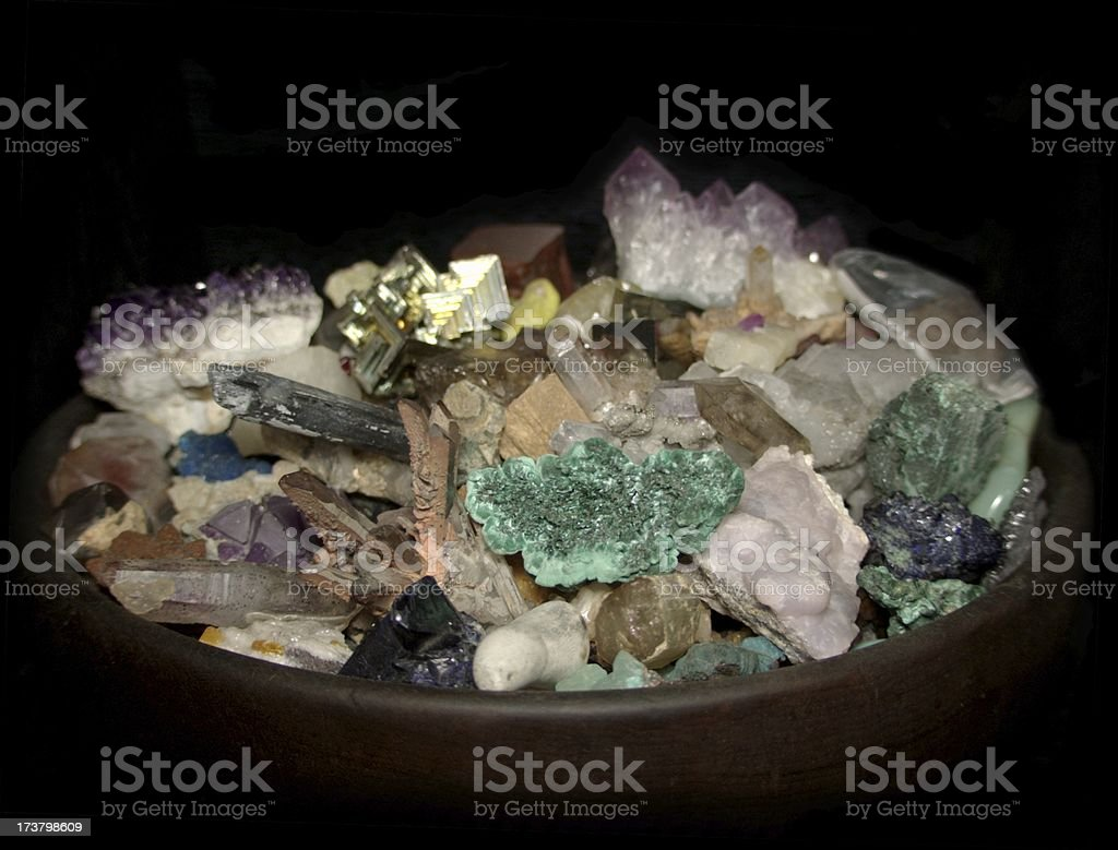 Bowl of Minerals stock photo