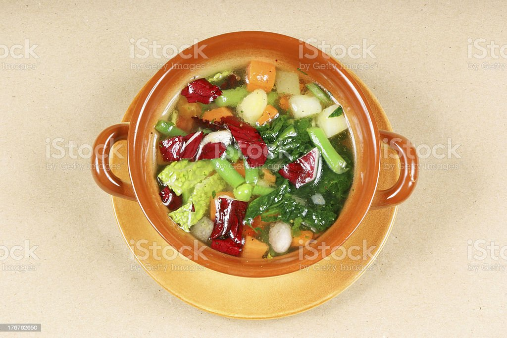 Bowl of minestrone soup royalty-free stock photo