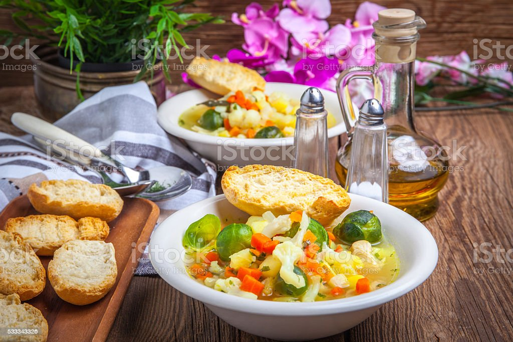 Bowl of minestrone soup. stock photo