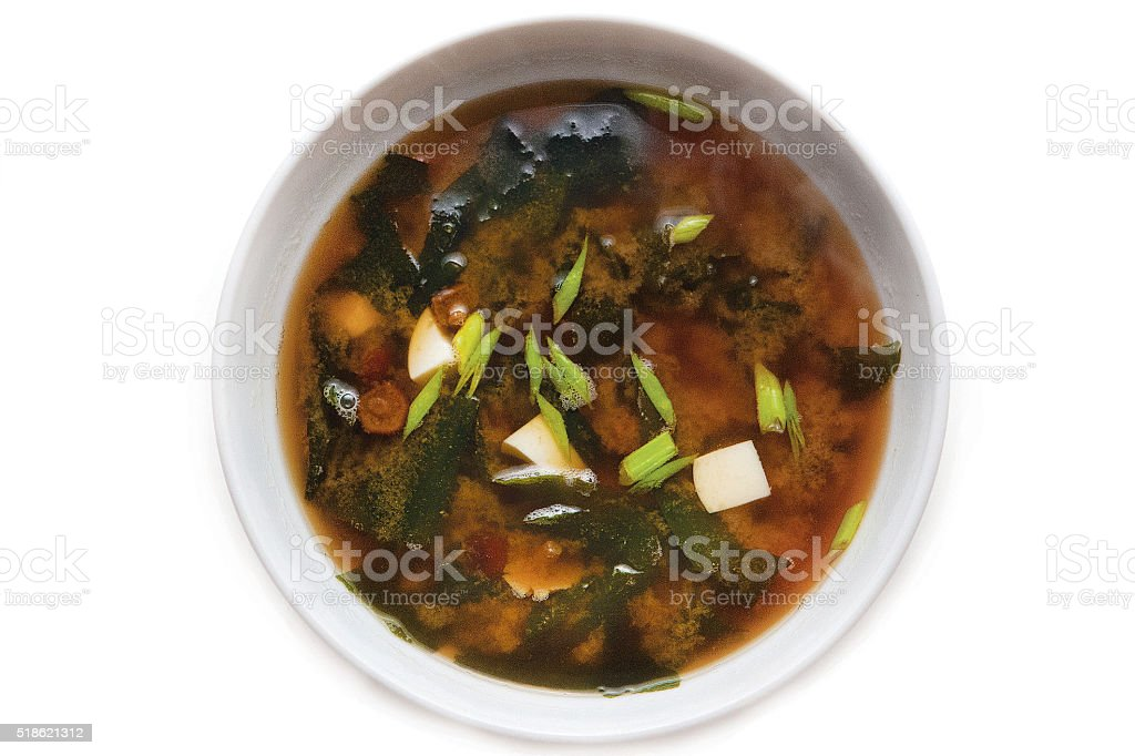 Bowl of miso soup Japanese Food stock photo