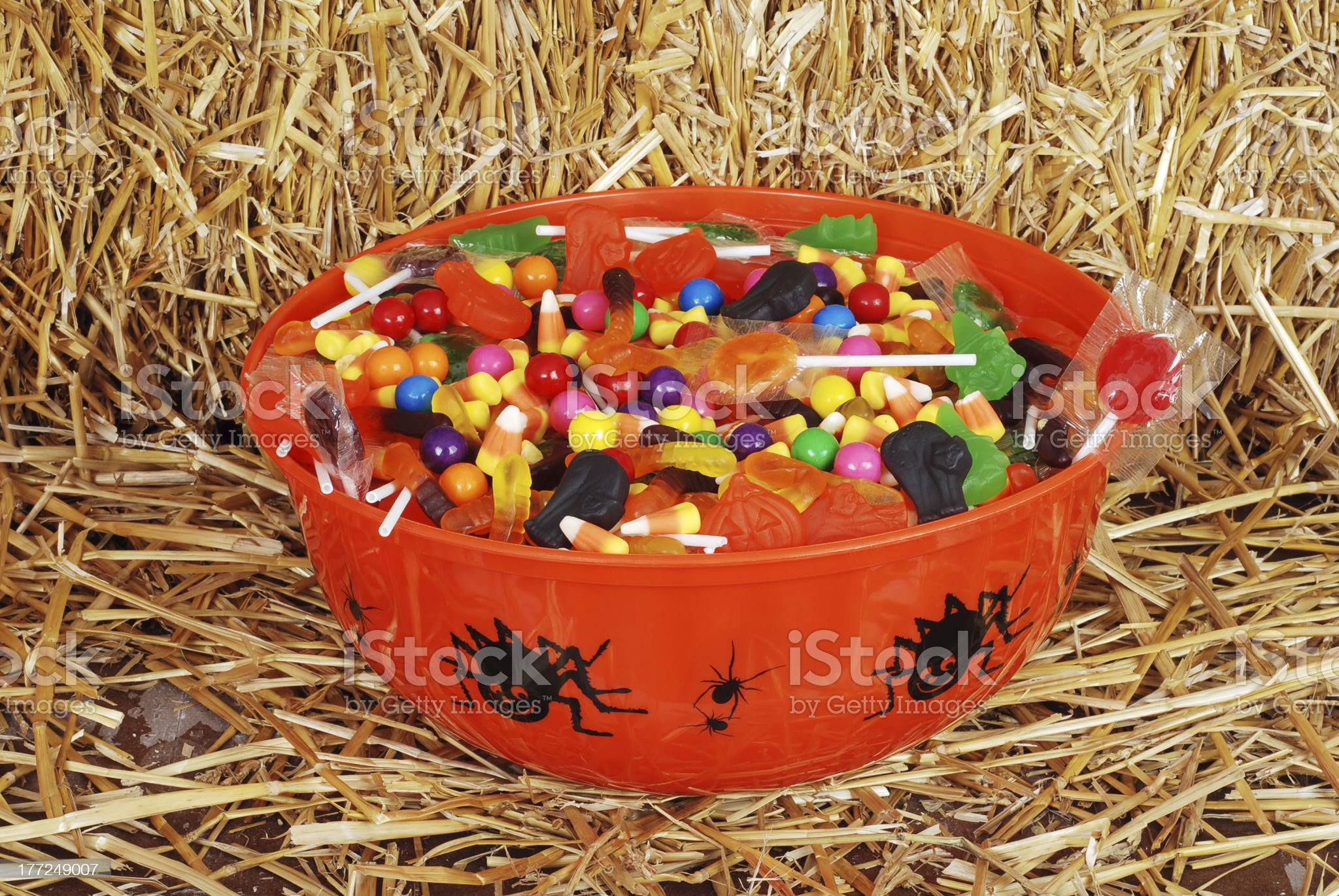 bowl of mixed halloween candy royalty-free stock photo