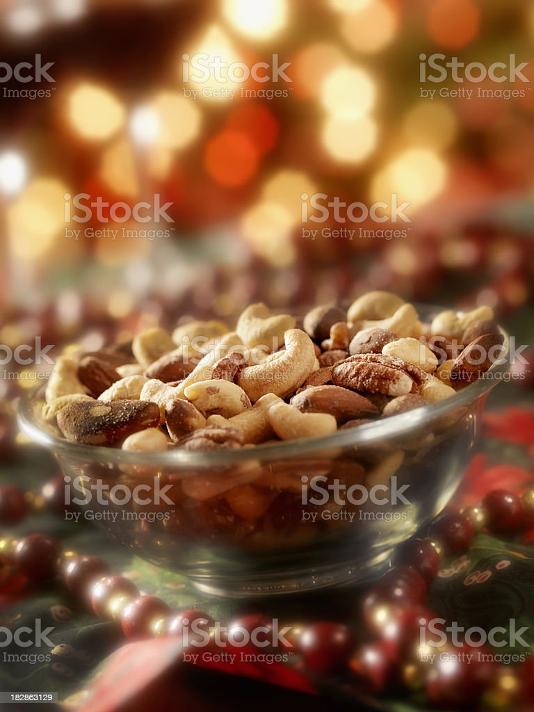 Bowl of Mixed Nuts at Christmas Time stock photo