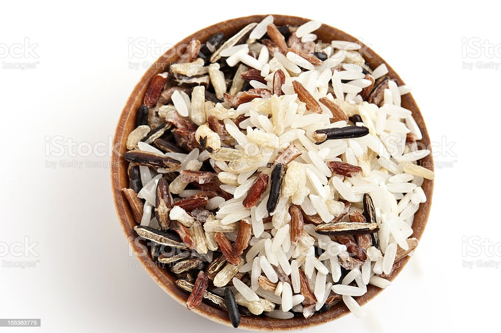Bowl of Mixed Rice on white background stock photo