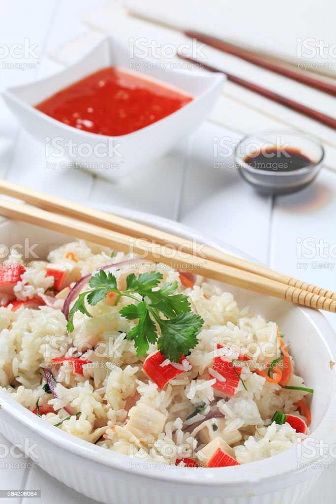 bowl of mixed rice stock photo