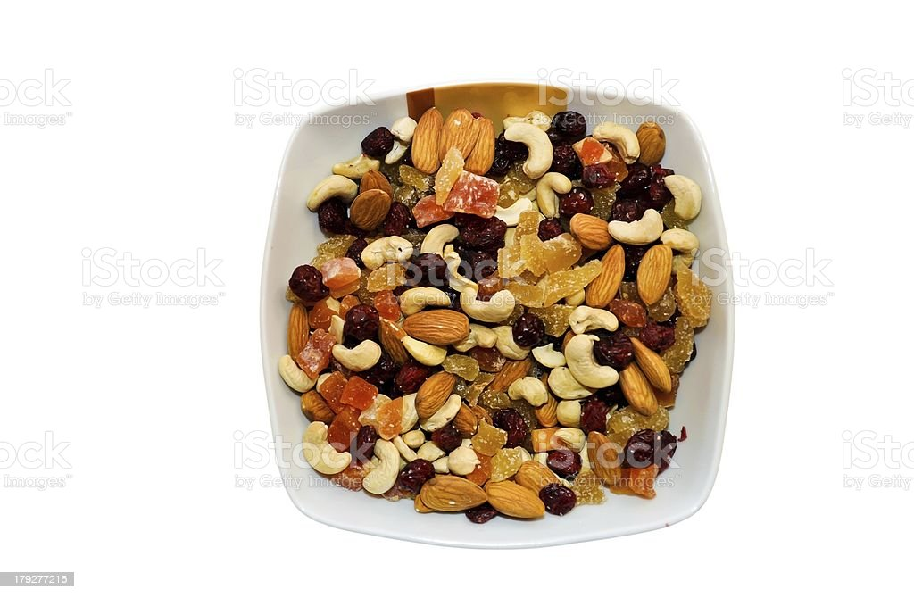 Bowl of mixed sultanas - isolated royalty-free stock photo