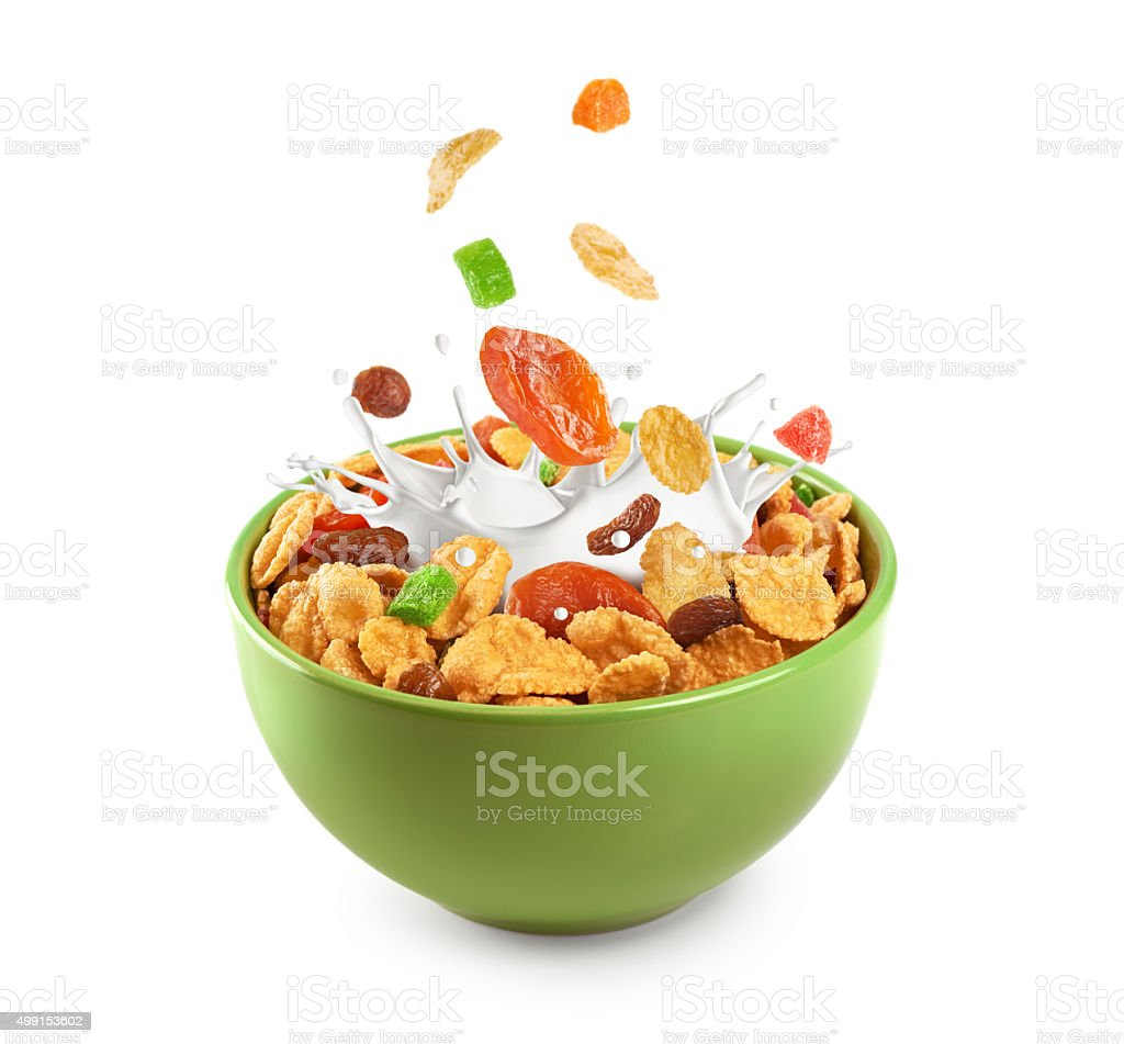 Bowl of muesli and dried fruit. stock photo