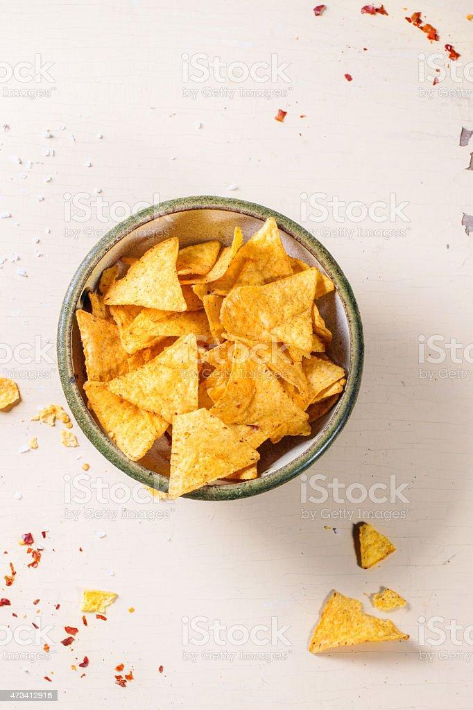 Bowl of nachos stock photo