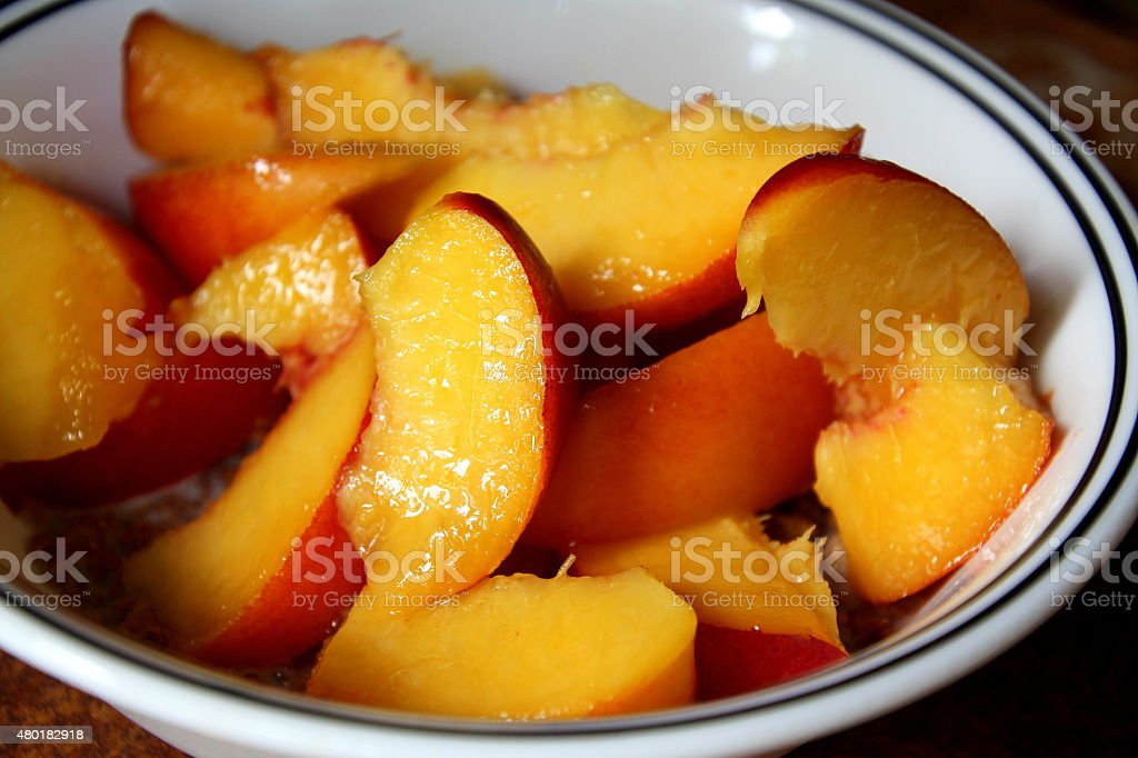 bowl of nectarines stock photo