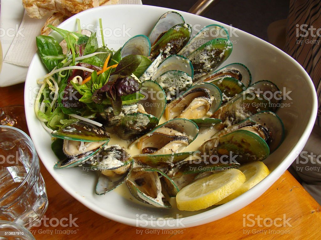 Bowl of New Zealand Mussels stock photo