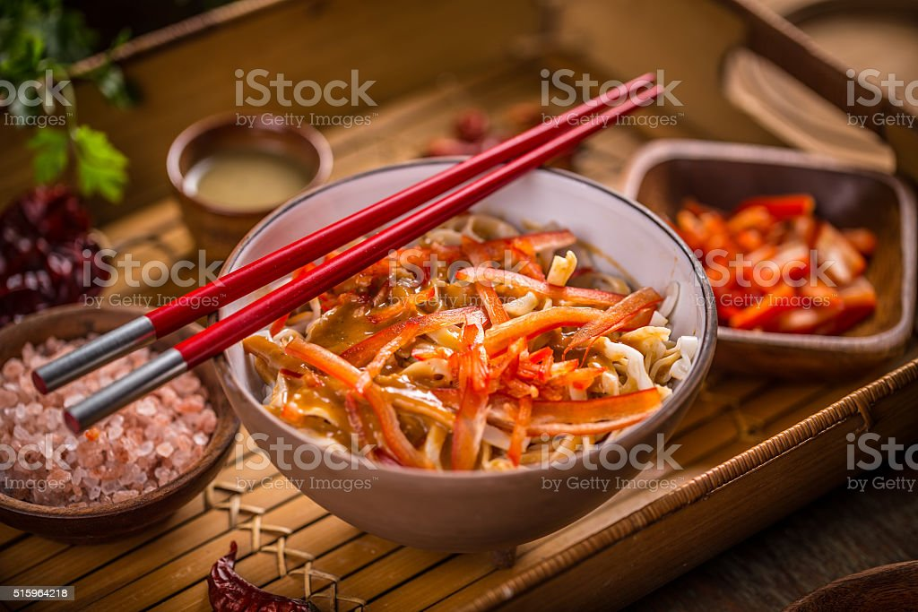 Bowl of noodles stock photo