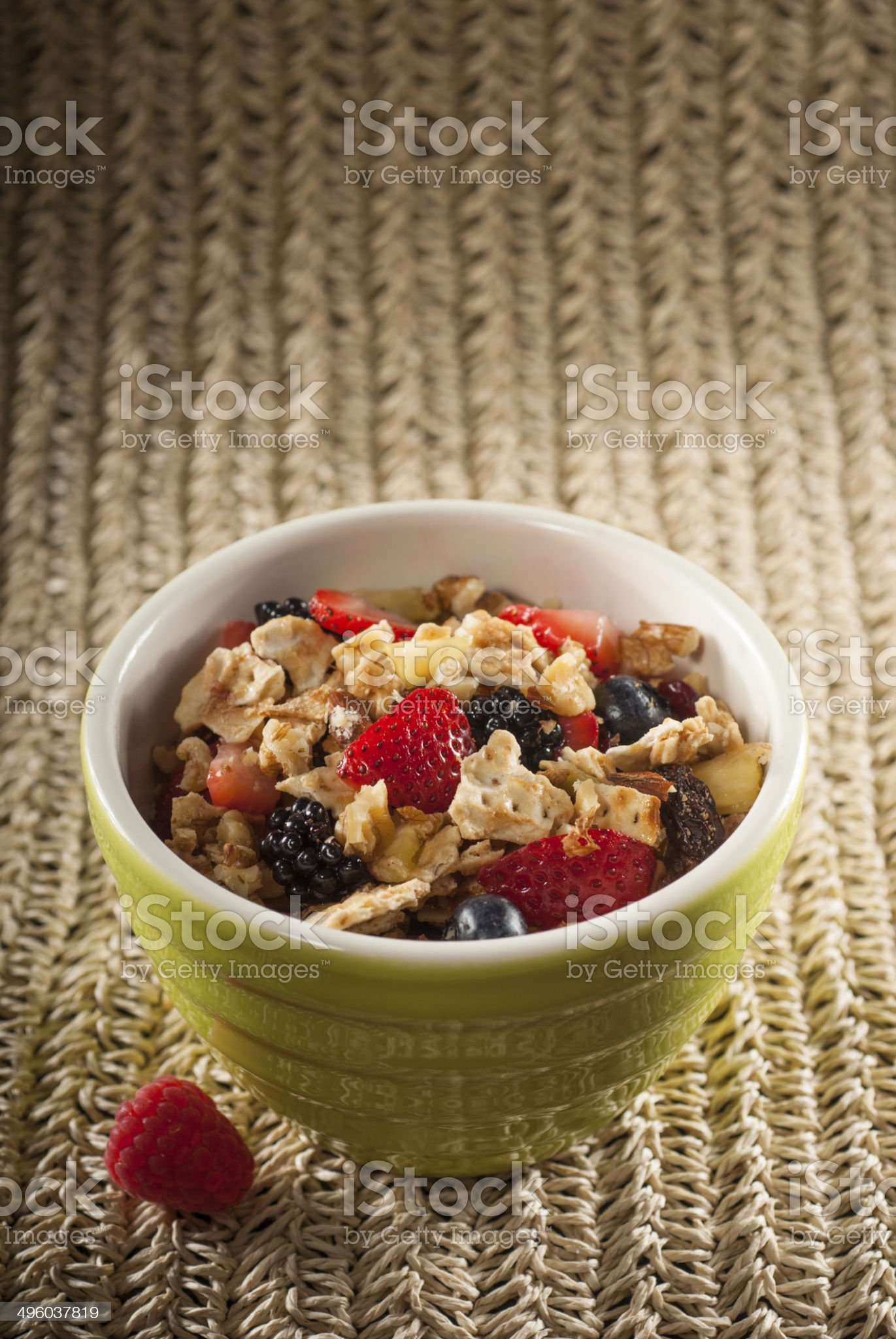 Bowl of Nuts and Berries Cereal with Matzo royalty-free stock photo