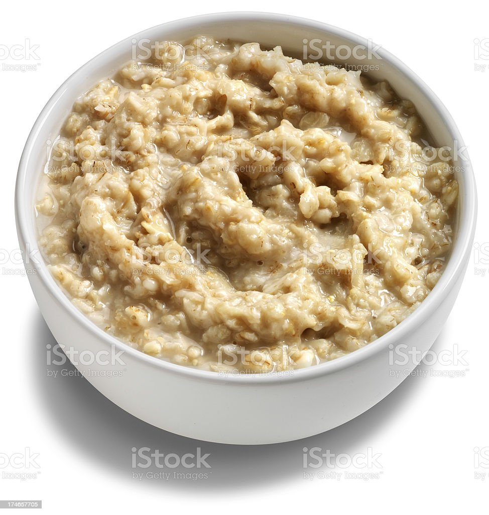 Bowl of oatmeal cereal royalty-free stock photo