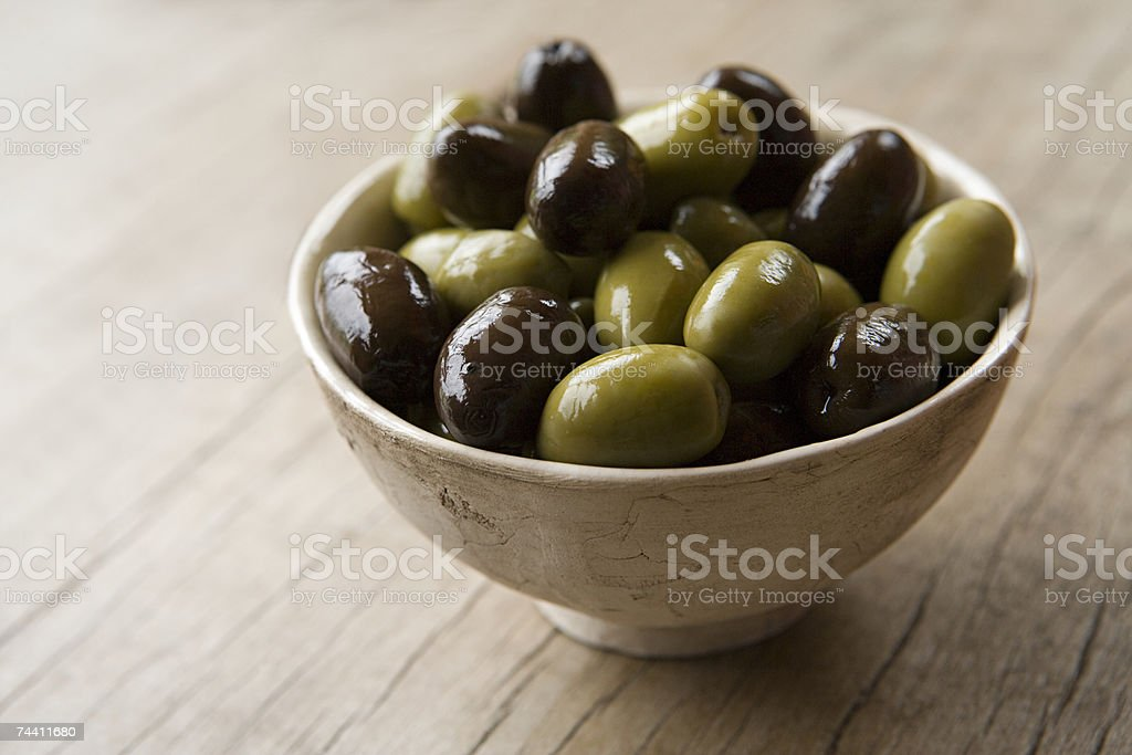 Bowl of olives stock photo